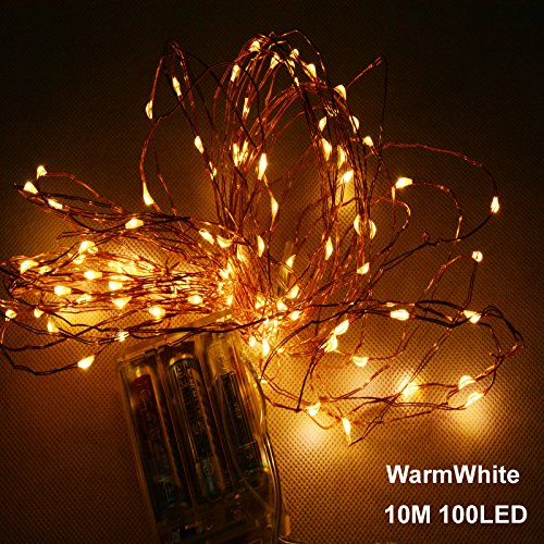 39.3 ft Fairy Lights String 100 LED 8 Modes Battery Powered IP68 Waterproof Battery Case with Remote and Timer, Copper Wire Light for Outdoor & Indoor - Warm WhitexFF08;Battery Not (Stanford Basketball Rugs)