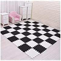 Baby EVA Foam Play Puzzle Mat 18pcs/lot Black and White Interlocking Exercise Tiles Floor Carpet And Rug for Kids,white black,9 pieces