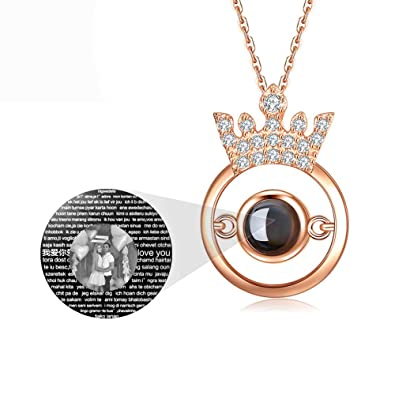 a2acd5782 SUNNY Day Customized Photo Necklace for mom 100 Languages Projection  Necklace Love Memory Pendant Jewelry for