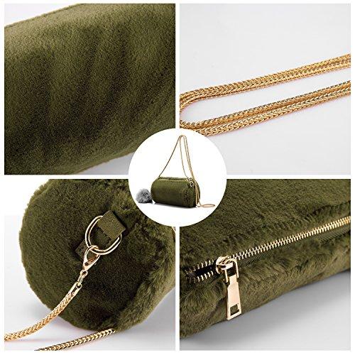 Sac main pochette Fourreau sacs léger blanc sac à artificiel épaule bandoulière sacs doux lapin à petit à sacs femme Vert de PPr7O