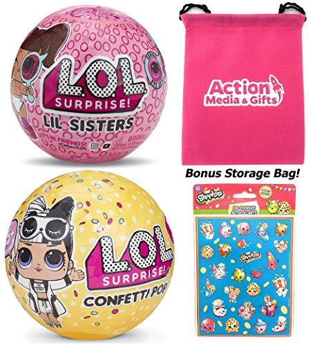 LOL Surprise Dolls Gift Bundle includes (1) Confetti Pop Wave 2 + (1) Lil Sister Series 4 Eye Spy + 100 Shopkins Stickers + BONUS Action Media Storage ()