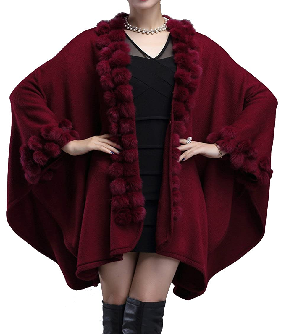 Helan Women's Rabbit Fur Ball Knitting Fashion Cape Coat FURCOAT1609001-B