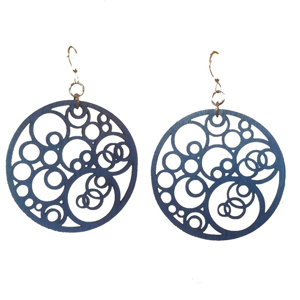 Green Tree Jewelry Circle N' Circle in Royal Blue laser-cut wood earrings sustainable eco-jewelry #1002