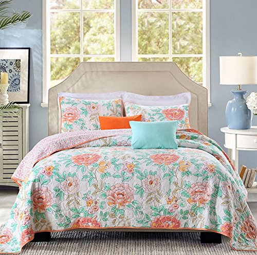 (HNNSI 3 Piece Peony Floral Print Quilt Comforter Set Queen Size, Peony Flower Cotton Bedspread Bedding Sets (peony quilt))