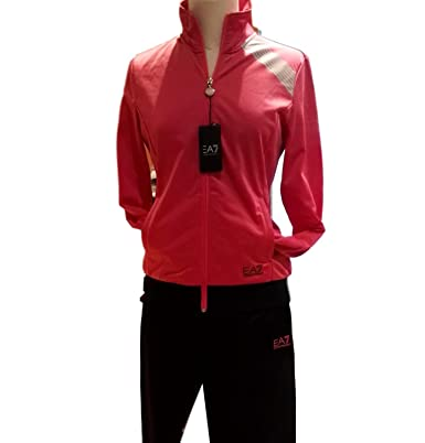 Emporio Armani Chándal EA7 sudadera rosa brillante, pantalón negro ...