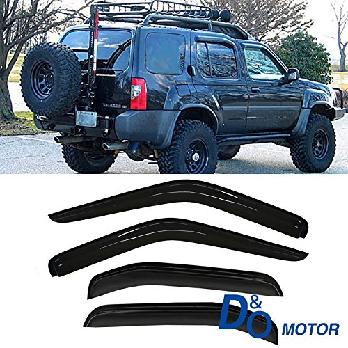 VioGi 4pc Fit 00-04 Nisan Xterra Smoke Sun/Rain Guard Wind Deflector Vent Shade Window Visor D&O Motor