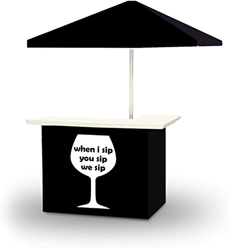 Best of Times 2001W2515 WE SIP WINE Portable Bar and 6' Square Market Umbrella Black