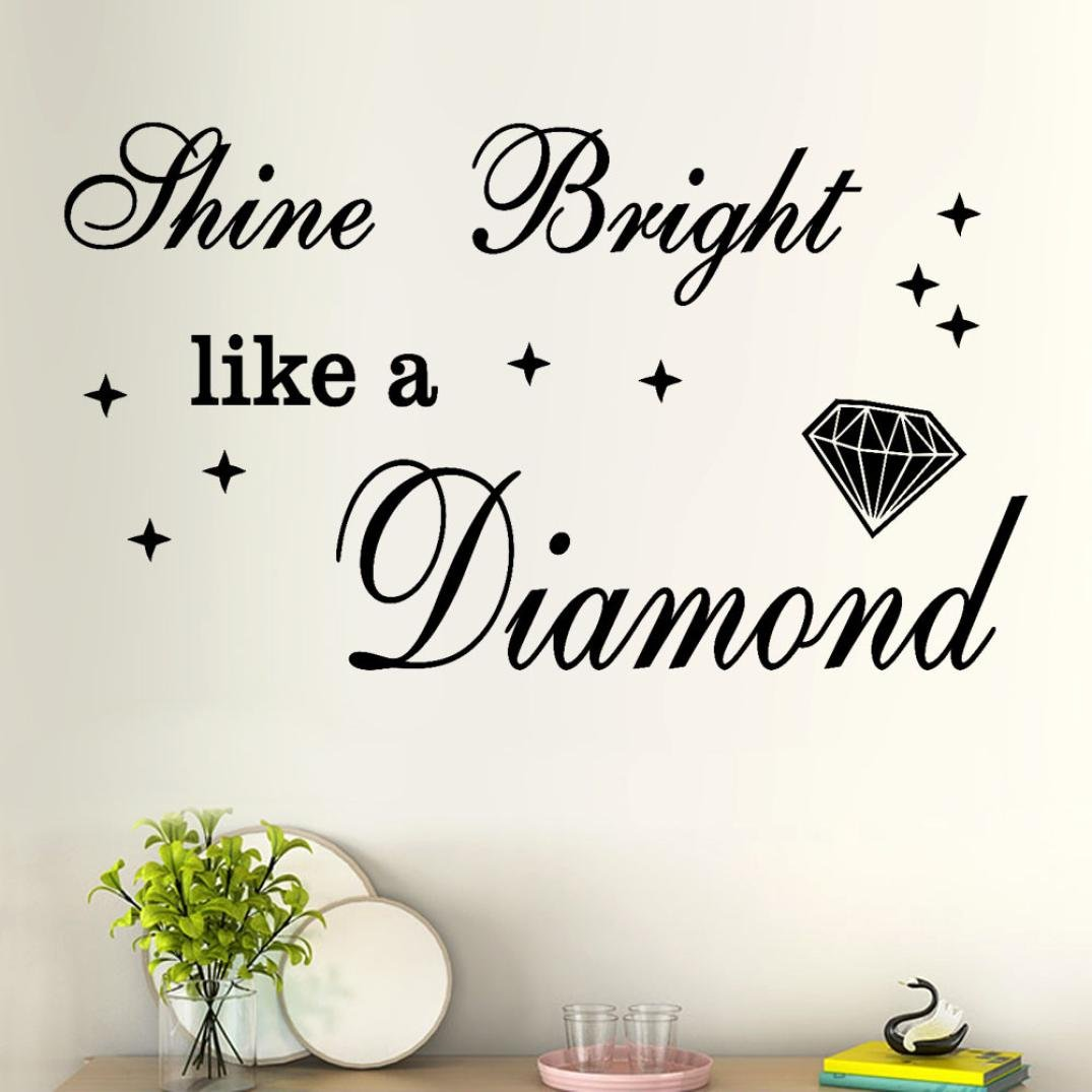 SMILEQ Removable Art Vinyl Mural Home Room Decor Wall Stickers Shine Bright Like a Diamond Quote Decal (A)