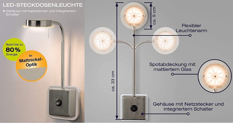 Trango 2er Pack LED Steckerleuchte TG2605//2 I Wandleuchte I Leselampe I K/üchenlampe i Nachtlicht I Steckerleuchte I Lampe 5.0 Watt 3000K warmwei/ß direkt 230V