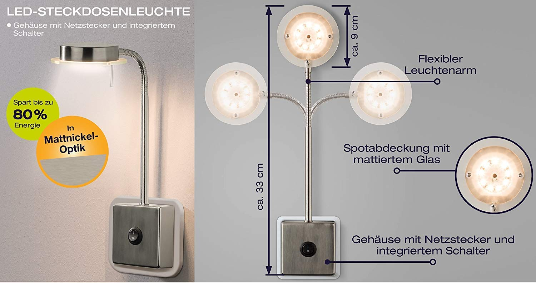 Trango Paquete de 2 Luz de enchufe LED TG2605//2 luz de pared I l/ámpara de lectura I l/ámpara de cocina i luz de noche I enchufe luz I l/ámpara de 5.0 vatios 3000K blanco c/álido directo 230V