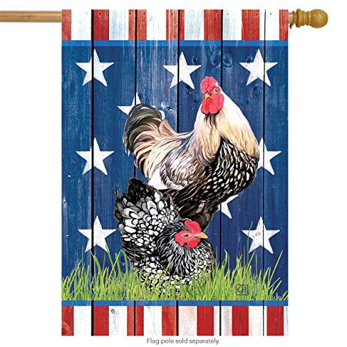 Briarwood Lane Patriotic Roosters Summer House Flag USA 28