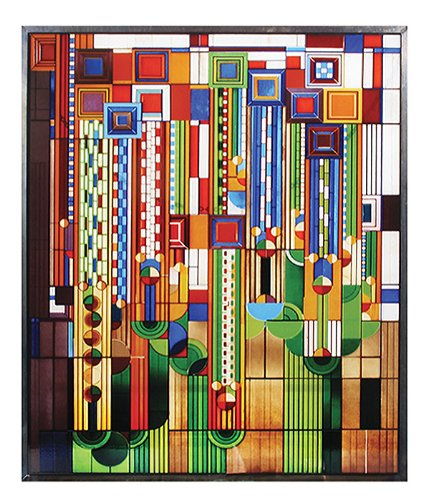 Frank Lloyd Wright Saguaro Stained Glass Metal Framed Ht:13.88