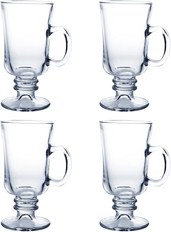 Amazon Com Irish Coffee Mugs 4pcs Of Clear Vintage Glass With 7 8oz Capacity For Hot Beverages Material Crystal Clear Glassware Dishwasher Safe Easy Grip Handle Transparent 1627 Kitchen Dining