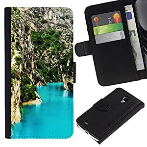 KLONGSHOP // Tirón de la caja Cartera de cuero con ranuras para tarjetas - Blue Lagoon Montaña - Samsung Galaxy S4 Mini i9190 //