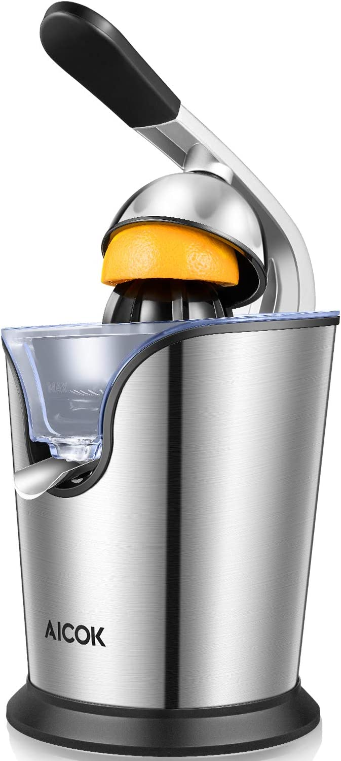 AICOK Orange Juicer Electric Citrus Juicer with Humanized Handle, Powerful 160W Silent Motor Stainless Steel BPA-Free, Anti-Drip Spout Double Size Cones