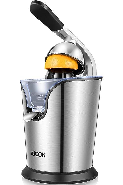Exprimidor eléctrico Aicok 160 W con Brazo de Palanca para Citricos. Dos Conos intercambiables libre de BPA. Colador de zumo y boquilla de Acero ...