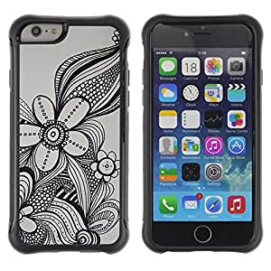 LASTONE PHONE CASE / Suave Silicona Caso Carcasa de Caucho Funda para Apple Iphone 6 PLUS 5.5 / flower in grey