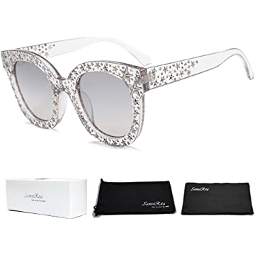 c64d7b1e4a SamuRita Sparkle Vintage Star Rhinestone Cat Eye Sunglasses Novelty Glitter  Shades