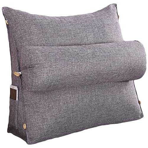 Mobile Lounge Adjustable Chaise - Roner Large Cotton Linen Adjustable Filled Triangular Wedge Pillow Neck Back Waist Support Cushion Sofa Bed Daybed Office Chair Backrest Reading Pillow Removable Washable Cover Dark Gray 18 Inches