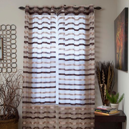 Lavish Home Sonya Grommet Single Curtain Panel, 108-Inch, Taupe