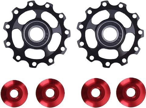 Polea de desviador, polea de rueda de jockey de bicicleta, polea de desviador de MTB, rueda de guía de 11 dientes, herramienta de bicicleta y equipo desviador polea de aleación de aluminio,negro: