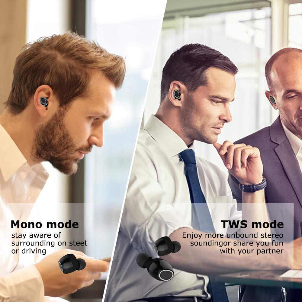 LOBKIN auricolari bluetooth senza fili, bluetooth TWS 5.0 bassi profondi dual-microfono auricolari sportivi wireless con tecnologia easy pair e custodia di ricarica portatile