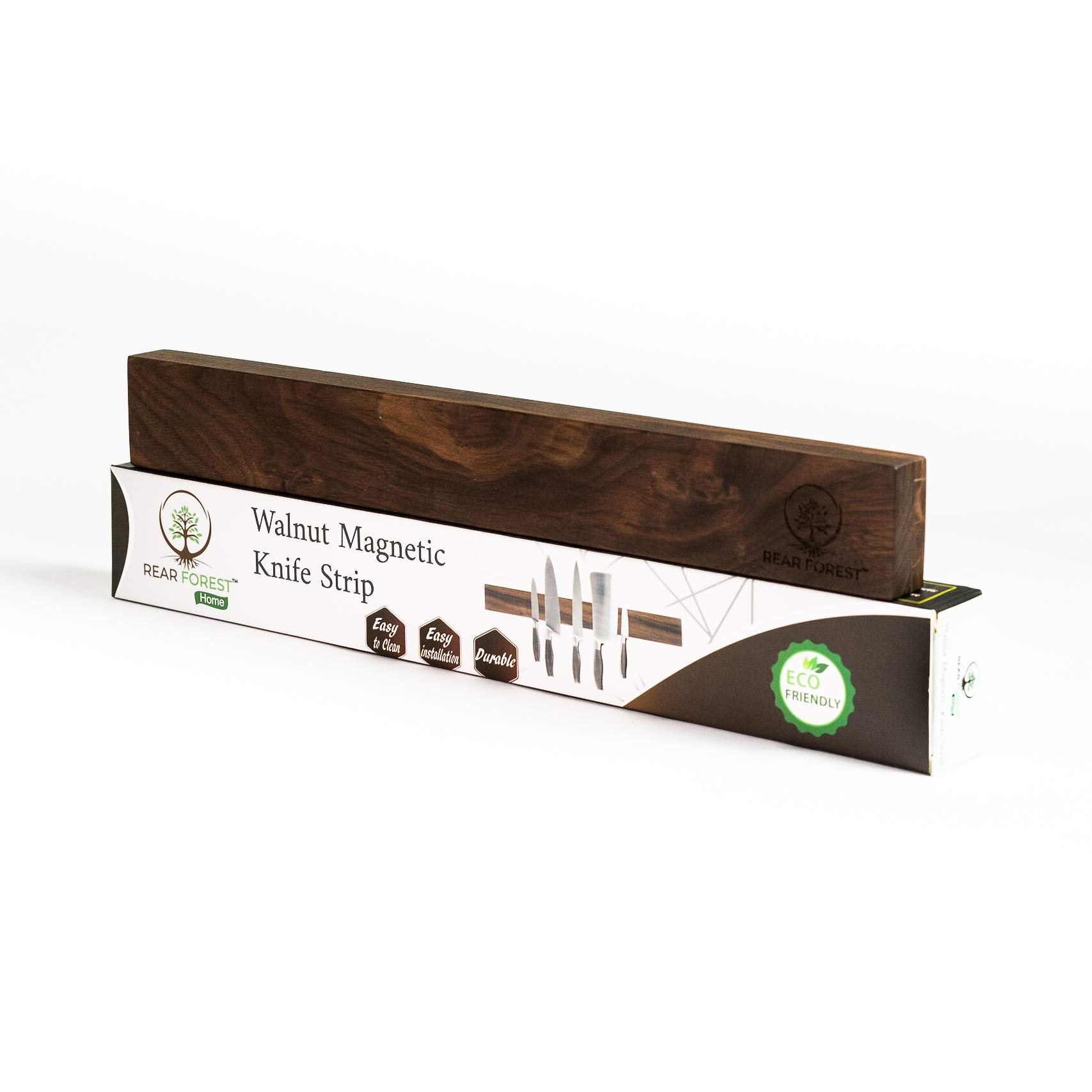 RearForest Walnut Magnetic Knife Strip | Screw Insert Installation or Sticky Pad Installation For Any Surface | Multipurpose Storage For Any Magnetic Metal Items | Walnut, 18''