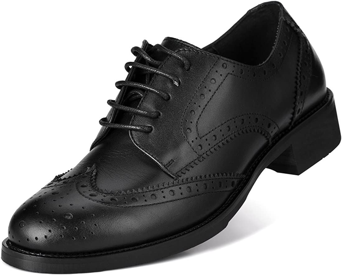 Womens Ladies Geniune Leather Brogue Shoes Formal Office Shoes Oxford Lace-up Black//Brown