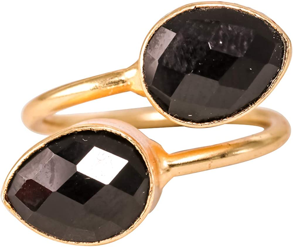 Handmade Rings Bezel Black Onyx 18k Gold Plated Brass Adjustable
