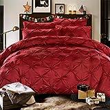 LAMEJOR Silk Cotton Duvet Cover Queen Size Pinch Pleat 3PCS Burgundy Color Bedding Set Comforter Cover Premium Quality Mulberry Silk