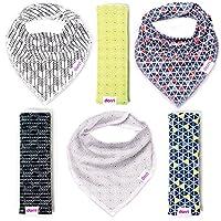 Baby Bandana Bibs and Burp Cloths - Unisex 6 Pack - Soft Organic Cotton - Cut...