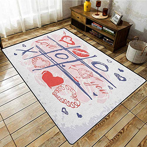 Hallway Rug,Valentines Day,XOXO Game with Lips Sketchy Circles Hearts Romantic Love Theme,Extra Large Rug Blue Red and White