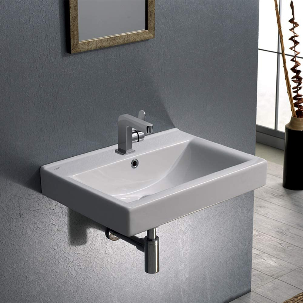 Stilform Soho 2.0 Sink Made of Finest Ceramic in Black Matt for Wall Mounting or Countertop Wash Basin 60 cm with Tap Hole Modern and Elegant