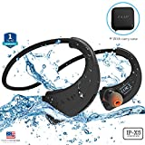 ZAAP (USA) AQUA FIT Bluetooth Waterproof Headphones + Free Carry Case {Award-winning Tech} IP-X5 with 4.1 Bluetooth Technology Universal Compatibility Secure Fit for Sports, Gym, Running & Outdoor with Built-in Microphone [Black]