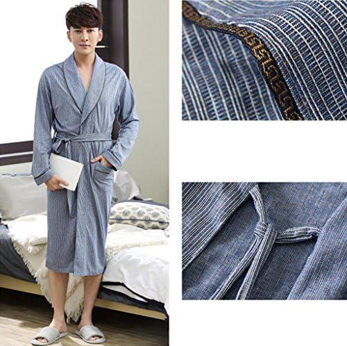 DAFREW Mens Sleepwear Cotton Nightgown Home Clothing Long-Sleeved Thin Section Bathrobes Bathrobe Stripe Robe