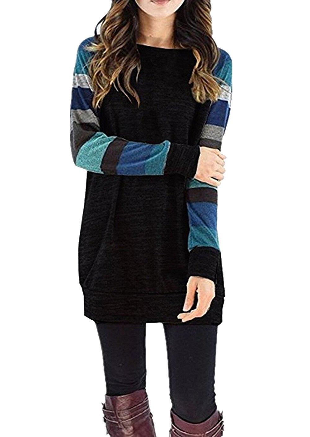 Hiistandd Women Sweatshirt Striped Sleeve Pullover Casual Round Neck Blouse Shirt