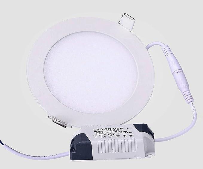 RPA9CW (2 Unidades) Lámpara LED 9W 6500K Redonda 145mm de Diámetro, 810LM, Foco de luz LED para Techo con Transformador incluido AC 85-265V, Foco empotrable ...