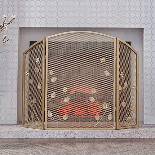 J-暖炉スクリーン 3-パネル31×41inシンプルな錬鉄の暖炉スクリーン、ホームリビングルーム華やかな立ち門の装飾メッシュW/ラスティック磨耗仕上げ、ゴールド スパークガードカバー
