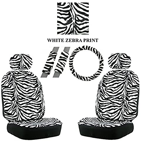 White Zebra with Black Stripes Animal Print Safari Wild Car Truck SUV Auto Head Rest Covers with Front Seat Bucket Seat Covers and Steering Wheel Cover and Seat Belt Shoulder Pads - 7PC Low Back (Safari Print Seat Covers)