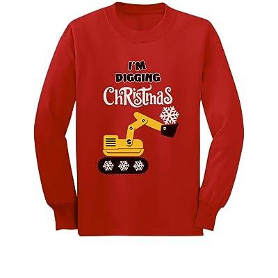 Tstars I'm Digging Christmas Gift Snow Plough Tractor Toddler/Kids Long Sleeve T-Shirt