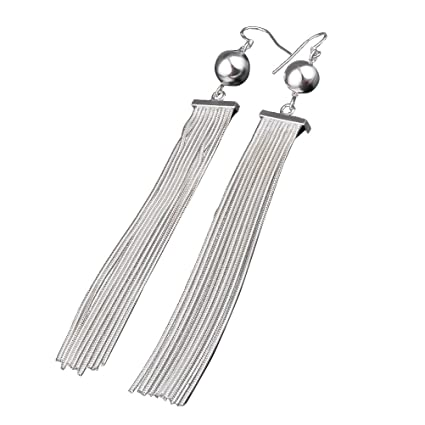 7773f0337 Buy LUOEM Women Earrings Long Metal Chain Tassel Geometric Classic ...