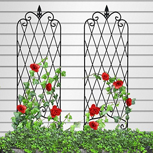 "Amagabeli Garden Trellis for Climbing Plants 46"" x 16"" Rustproof Black Iron Potted Vines Vegetables Flowers Patio Metal Wire Lattices Grid Panels for Ivy Roses Cucumbers Clematis Pots Supports 2 ()"