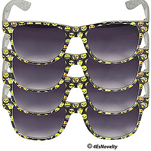 "Emoji Sunglasses For Kids, & Adults, (4) Pair of Sunglasses - Frame Designed With Popular Emoji Faces, Great For Pool Parties, The Beach, & Birthday, Party Favors ""UV 400 Protection"" - Sunglass Emoji Snap"