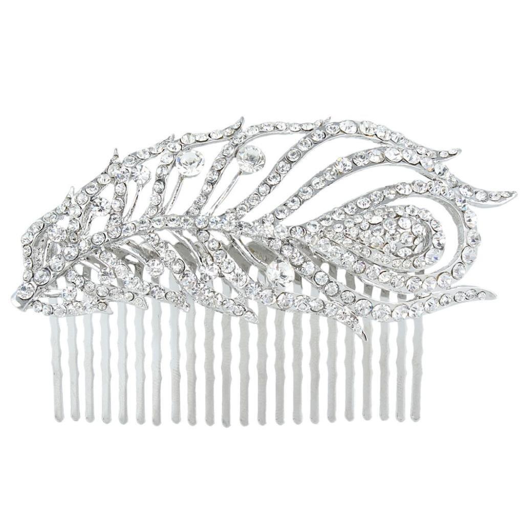 Ever Faith Charming Bridal Silver-Tone Peacock Hair Comb Austrian Crystal Clear N01020-1