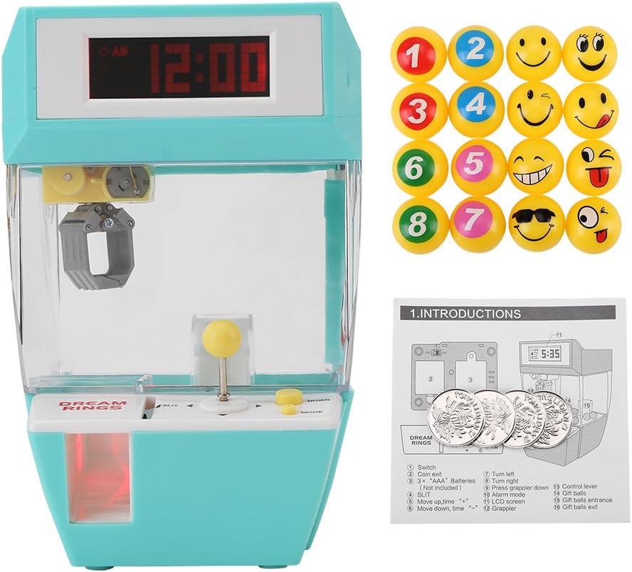 Mini reloj creativo creativo con pantalla LCD 2 en 1, despertador electrónico para grúa máquina de juguete reloj despertador creativo juego de garra electrónica para grúa(Verde)