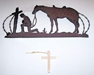 dist by classyjacs Free Wooden Cross with Purpose - Rustic Metal Cut-Out Cowboy Kneeling with Horse at a Cross in Prayer - Twisted Wire Oval Frame, That Old Country Design - Rustic Rust Finish.