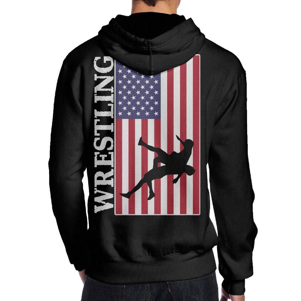 BB&YYY USA Flag Wrestling Mens' Pullover Hoodie Sweatshirt Back Print Hoodies