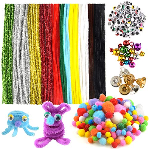 - FEPITO 790Pcs Pipe Cleaners Set Including 120Pcs Pipe Cleaners 410Pcs Pom Poms, 200Pcs Wiggle Googly Eyes and 60Pcs Colored Craft Jingle Bells for Christmas Tree Party Decoration DIY Craft