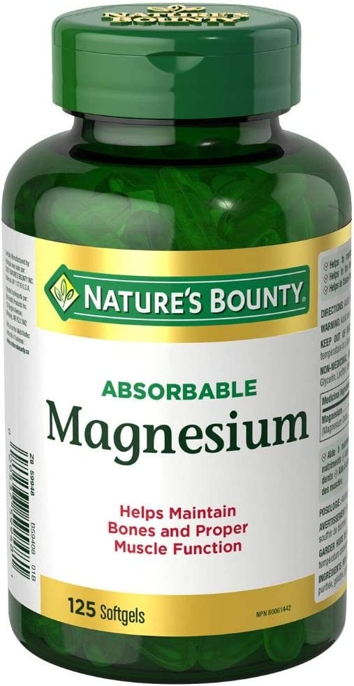 Nature's Bounty Absorbable Magnesium, 125 Liquid Softgels Capsules