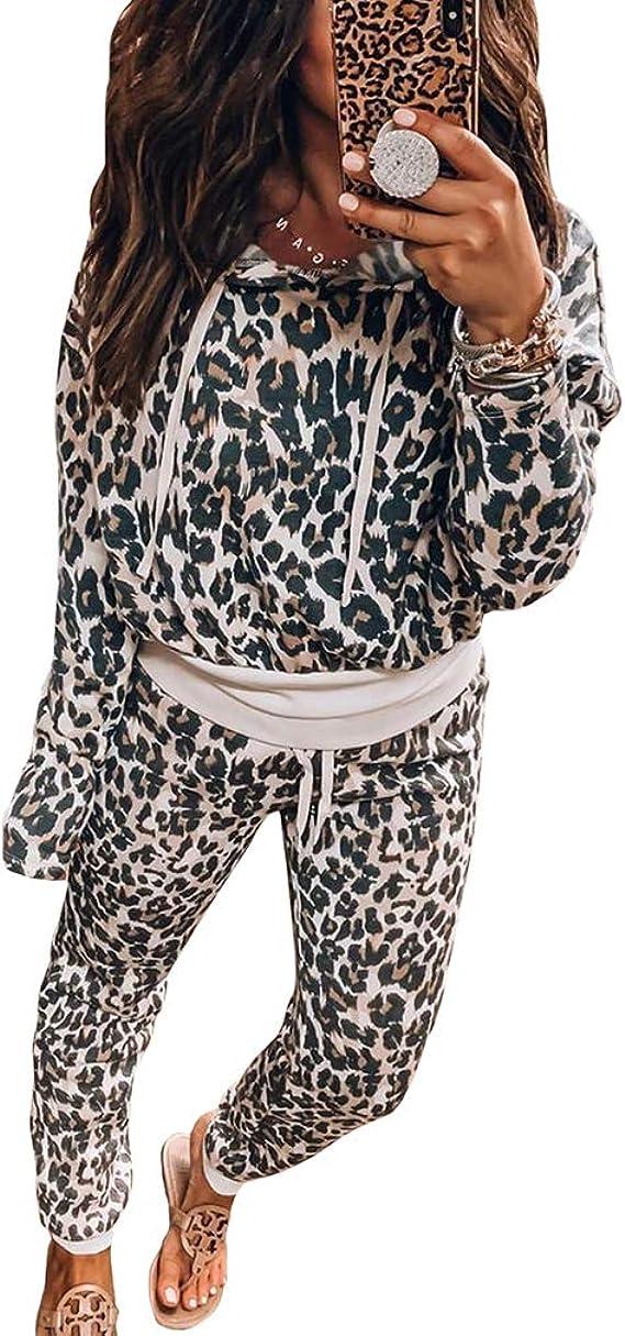 Yying Chándal con Estampado Leopardo Mujer Manga Larga ...